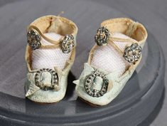"""What Finespun Threads"" - Antique Doll Costumes, 1840-1925 - March 12, 2017: 150 Aqua Kidskin Shoes with Silver Buckles"