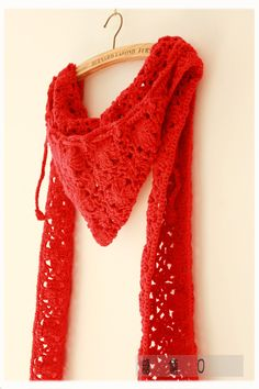 Red Riding Hood crochet scarf