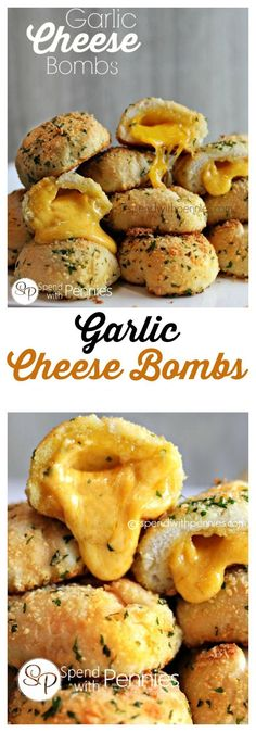 These Garlic Cheese Bombs are not only delicious, they are easy to make! Perfect as a snack, appetizer or side! These Garlic Cheese Bombs are not only delicious, they are easy to make! Perfect as a snack, appetizer or side! Think Food, I Love Food, Food For Thought, Good Food, Yummy Food, Awesome Food, Appetizer Recipes, Snack Recipes, Cooking Recipes