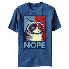 Grumpy Cat Nope Men's Heather Blue T-Shirt L