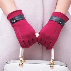 Fashion Women Bowknot Winter Elegant Keep Warm Gloves Mittens Casual Solid Smartphone Touch Full Finger gloves For Female 2018 Black Gloves, Leather Gloves, Pu Leather, Leather Fashion, Mitten Gloves, Mittens, Warmest Winter Gloves, Driving Gloves, Models