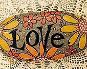 Happy Rock - Love - Orange Yellow Daisies Flowers - Hand-Painted River Rock