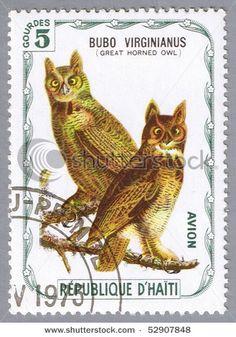 owl stamp from Haiti