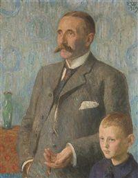 Prof. Brandt med sønn, 1909, Erik Theodor Werenskiold