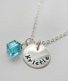 Love this Light Aqua & Sterling Silver Cube Personalized Pendant Necklace by The Sassy Apple on #zulily! #zulilyfinds