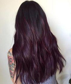 20 Plum Hair Color Ideas for Your Next Makeover Burgundy Plum Ombre Hair Dark Purple Hair, Hair Color Purple, Dark Hair, Hair Colors, Burgundy Plum Hair, Red Tint Hair, Deep Violet Hair, Deep Burgundy Hair Color, Cherry Cola Hair Color