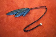 3 Vegan Feather Bicycle Tube Necklace - Long