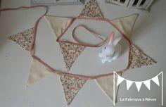 guirlande fanions liberty rose beige décoration chambre enfant fille bébé 2