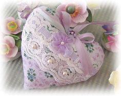 Heart Sachet Sachet Heart Lilac and Aqua by CharlotteStyle on Etsy, $13.00
