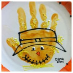 Scarecrow hand print craft for kids