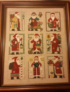 I love the annual Santa designs from Prairie Schooler. This piece was stitched as a round robin with a group of friends in real life and online, probably at least 15 years ago. This piece brings b...