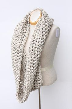 Great for men or women, this handmade, crochet infinity scarf is made from a soft and snuggly acrylic and wool blend - making it both warm and washable! This circle scarf is shown in Oatmeal - a cream color with flecks of brown and black, but can be ...