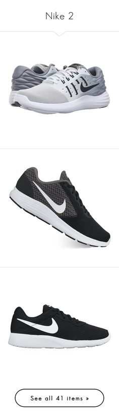 """""""Nike 2"""" by raygenbrand ❤ liked on Polyvore featuring shoes, athletic shoes, black shoes, black running shoes, light weight running shoes, grey shoes, white running shoes, black, breathable running shoes and wide running shoes"""