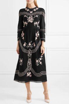 Vilshenko | Darcel embroidered cotton-voile midi dress | NET-A-PORTER.COM