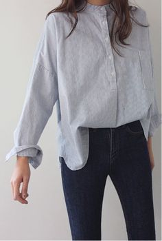 women's shirts casual look shirt jeanshose combine - Hemd Outfit Look Fashion, Korean Fashion, Fashion Clothes, Fashion Outfits, Womens Fashion, Fashion Trends, Winter Fashion, Gq Fashion, Style Clothes