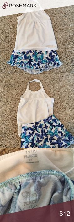 Summer butterfly outfit White tank. Blue butterfly shorts. Elastic waist. Children's Place Matching Sets