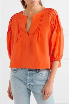 APIECE APART - Tan Tan Pintucked Silk-satin Blouse - Orange - US10