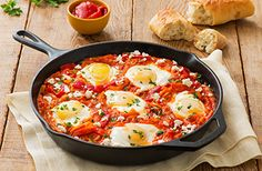 Shakshuka (Eggs Baked in Sauce with Peppers and Onions) Recipe | Mezzetta.com | Don't Forgetta Mezzetta