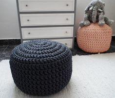 Charcoal / Dark Solid Gray Ottoman Pouf - Charcoal Crochet Floor Cushions Pouf - Ottoman Footstool Eco friendly Decor - Housewares    Wonderful dark