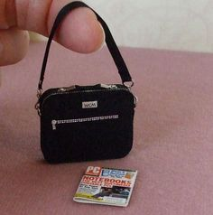 Dollhouse Miniature Laptop Bag 1/12th Scale by WhimsyCottageMinis