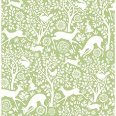 Meadow Green Animals Brewster Wallpaper Wallpaper Brewster Greens Animals Wallpaper Floral & Plants Wallpaper , Non Woven, Easy to clean , Easy to wash, Easy to strip Tier Wallpaper, Plant Wallpaper, Wallpaper Samples, Wallpaper Roll, Pattern Wallpaper, Bathroom Wallpaper, Quirky Wallpaper, Rabbit Wallpaper, Hallway Wallpaper