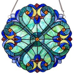 Halston Blue Round Stained Glass Window Panel | 12 inches by River of Goods