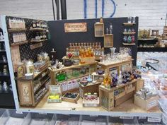 """Miniature Trade-Show Booth """"The Witches Help"""" by Nostalgie in 1/12 scale."""