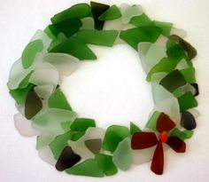 Sea Glass Wreath: ~ Submitted by Michele Kelley   Michele sent in photos of three separate art/crafts projects that are renewable or temporary:    Sea Glass Gingerbread
