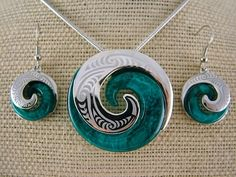 Silver and Some - Necklace Set, Koru Necklace and Earring Set - Blue