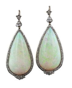 Opal and diamond dangles