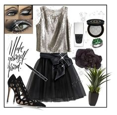 """""""Black skirt"""" by greensparkle1 on Polyvore featuring Little Wardrobe London, Umbra, Gianvito Rossi, Chanel, Givenchy, Bobbi Brown Cosmetics, Gucci and SteelTime"""