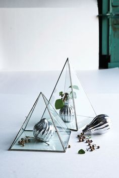 Love these!! GLASS & METAL PYRAMID DISPLAY CASE