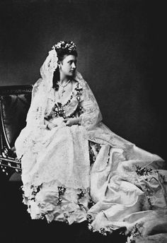 Queen Victoria's daughter Princess Louise, Duchess of Argyll, in her wedding dress, 1871