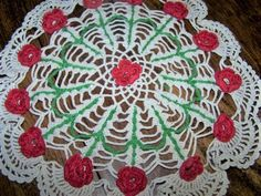 Red rose crocheted doily