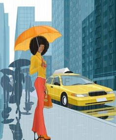 Illustration about Young black woman with umbrella in the city in rainy weather. Illustration of apparel, citizens, adult - 26717004 African American Art, African Art, Natural Hair Art, Natural Hair Styles, Ladies Umbrella, Pelo Afro, Black Artwork, Afro Art, Young Black