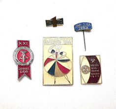 Vintage pins from the German Democratic Republic (GDR) -1960 - 1970.
