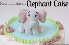 See how to make a cute elephant cake in this tutorial. Make an easy fondant elephant playing in an edible water pool complete with realistic water and rocks
