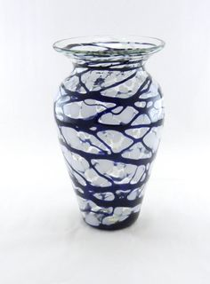 Hand Blown Art Glass Vase Black and White Home Decor by MOODYGLASS, $45.00