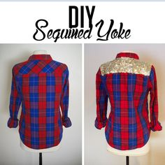 DIY sequined plaid top // while camden sleeps