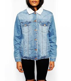 ASOS Denim Jacket with shearling style lining and collar