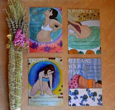 A set of four soulful postcards, each with a powerful image of a birthing woman and a peaceful birth affirmation.
