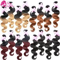 Ombre Hair Extension Brazilian Virgin Hair Body Wave Two Tone Color Hair 3 Bundles Ombre Human Hair Weave T1B/27/30/99J #1B Black