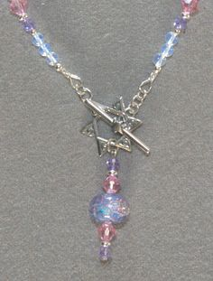 Dichroic bead & Austrian crystal with Sterling Silver Star of David Clasp