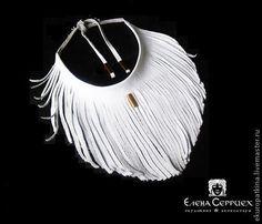 Купить Колье из натуральной кожи арт.02 - белый, украшения ручной работы, украшение, украшения