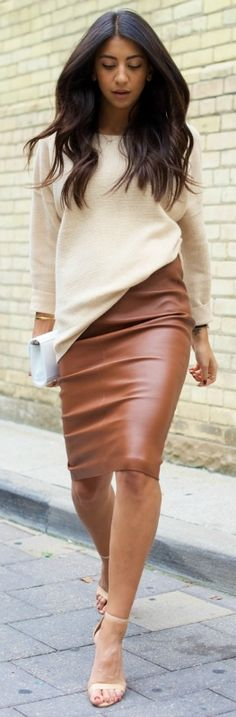 Try a plain sweater with a pencil skirt to make the most of the fall weather. Via Kayla Seah   Sweater: J Crew, Skirt: Baukjen