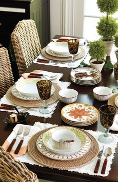We love using Bunny's Melange Dinnerware in the dining room. Her mix-and-match collection features hand-painted designs and classic motifs.