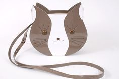Mr cat bag duo combination  grey & white  synthetic by TitinaStore, $50.00