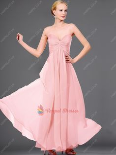 115.00$  Buy here - http://viyiz.justgood.pw/vig/item.php?t=8rs6ld28620 - Popular Pink Strapless Pleated Chiffon Long Bridesmaid Dresses