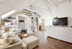 dachwohnung einrichtung-skandinavischer stil design Bibliothek Wohnwand