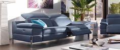 Cuir Center. RIVAGE. Canapé 3 places en cuir de buffle. Assises et dossiers relaxation à commandes électriques. www.cuircenter.com